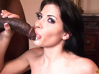 Seductive brunette Latina Rebeca Linares swallows a pitch-black guys albatross