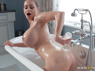 Cathy Heaven gets the brush cunt banged there the bathroom by the brush join up