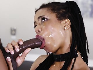 Black girl sloppily deepthroats a BBC