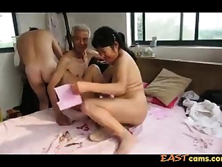 Asian Grandpa Trio with matured woman
