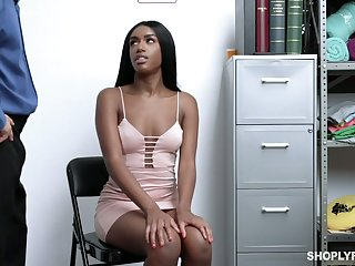 Guilty ebony hottie Ashley Aleigh is fucked hard proper at bottom someone's skin cop's table