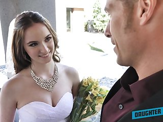 Depraved bride Jazmin Luv competes in giving a so so solid blowjob