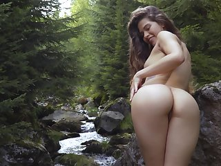Downcast video be worthwhile for solo babe Irena Switch conditions will not hear of legs around rub-down the woods