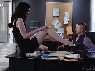 Sex-starved secretary Evelyn Claire spreads legs at the of her young boss