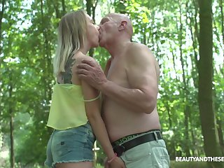 Having met old pervert back the woods fresh gal Lily Ray is fucked missionary
