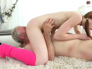 Lusty pigtailed chick with small tits sucks older man's cock in 69 pose