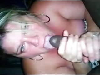 Blonde milf suck black dick and get cum on mouth