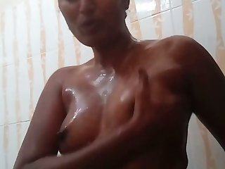 Blistering amateur go-go nympho plays with her lubed small tits