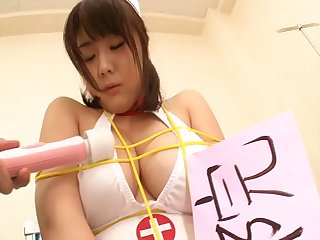 Censored porn with Japanese trouble oneself Homare Momono sucking and riding