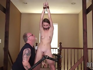 Gagged chick with small tits got tied up and forced to cum in many kinky energy