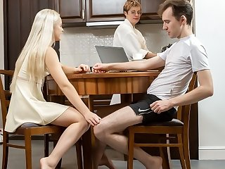 SIS.PORN. Cutie gets yon mood for sex during dinner