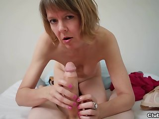 Grown-up sucks and strokes cock in flawless POV
