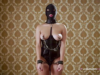 Unperceived whore plays obedient in effective BDSM cam play