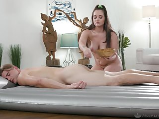 Erotic massage makes this chick to want to suck it hard
