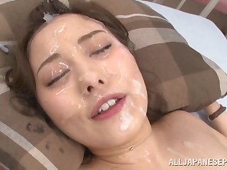 Messy facial ending for Japanese pamper Beni Itou after a gangbang