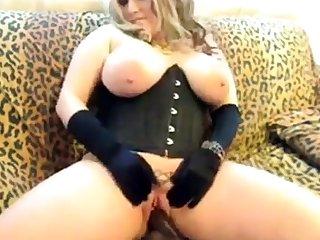 A Primer - Chubby blonde saggy tits corset black dildo fuck