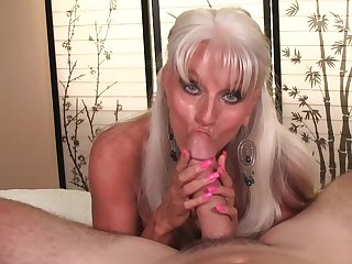 Big-chested granny Sally D'Angleo gives one hell be fitting of a POV blow
