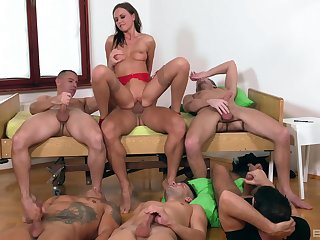Tina Kay is a catch center of attention during dazzling gangbang fuck