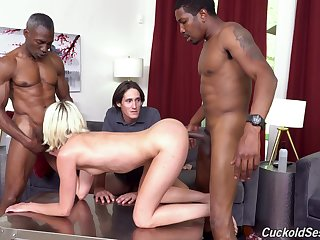 Two black guys fuck Zoe Sparx in dissimulate of say no to nerd cuckold husband
