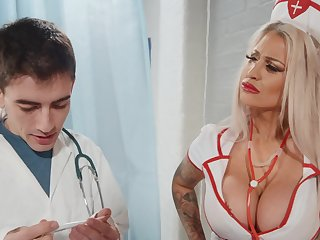 Seductive nurse bends that fine pest for cock