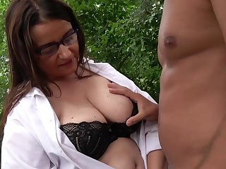 Outdoors fucking the greatest a handsome dude and a grown up BBW slut