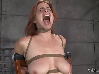 Slave girl Bella Rossi gets her mouth and pussy penetrated
