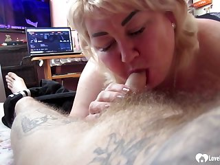 Blond See red Laddie stepmom sucking on a hard penis