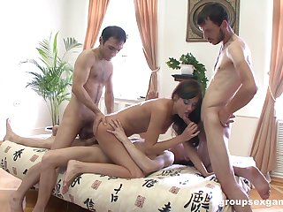 Erotic nude porn with three individuals to flood her tight holes