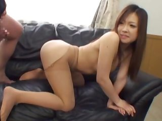 POV video of a small tits Asian explicit giving head and getting fucked