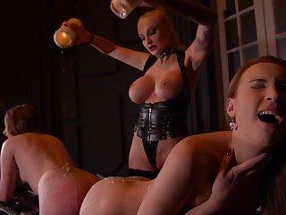 Kayla Green & Liona Levi & Lulu Be on touching love with on touching Smoking Hot: Lesbian Teens Ass Fucked By Busty Dominatrix - KINK