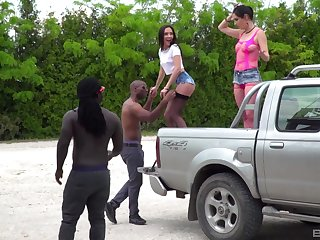Hardcore interracial group copulation with gorgeous Carry Cherry and her associates