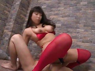 Nozomi Mikimoto debilitating stockings riding a dick in cowgirl